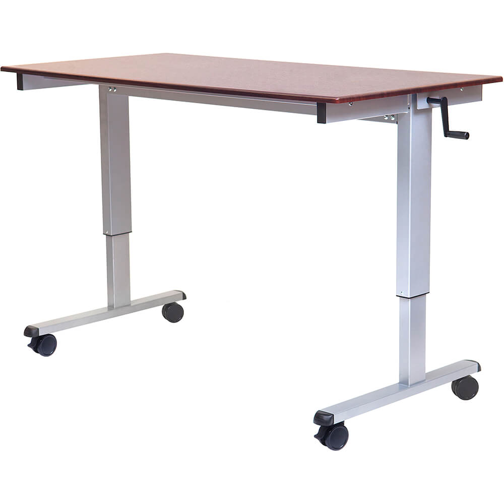 "Dark Walnut, Steel 32.6"" To 48.5"" Height Adjustable Desk, High Speed Crank Adjustable Sit Stand Desk, 60"" Long"