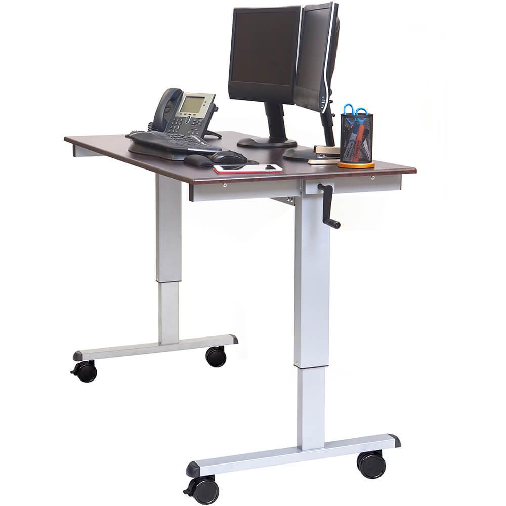 "Dark Walnut, Steel 32.6"" To 48.5"" Height Adjustable Desk, High Speed Crank Adjustable Sit Stand Desk, 60"" Long View 2"
