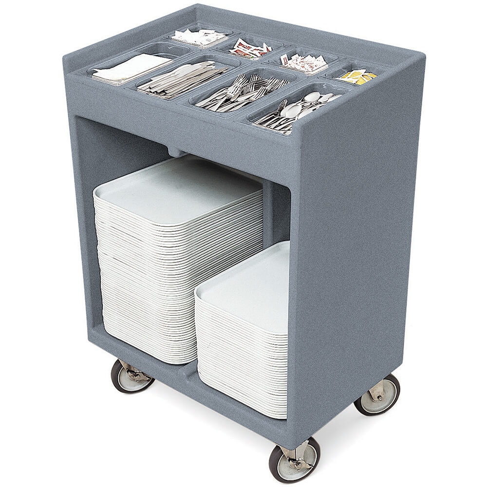 Granite Gray, Silverware and Tray Cart with Vinyl Cover