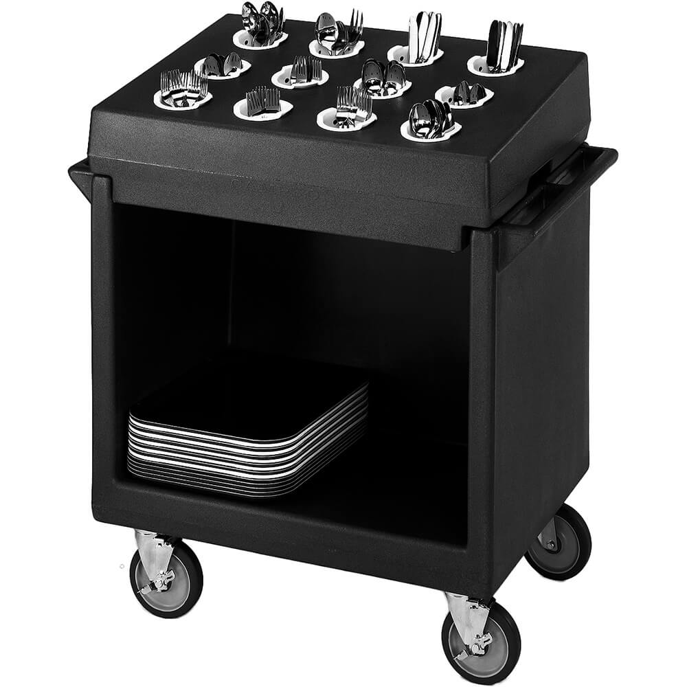 Black, Tray and Dish Cart with Rack and Cover