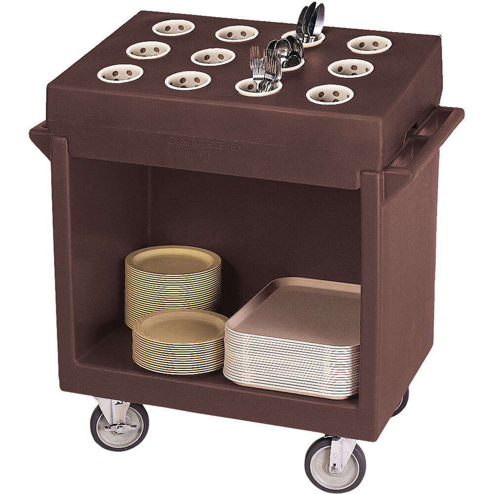 Dark Brown, Tray and Dish Cart with Rack and Cover