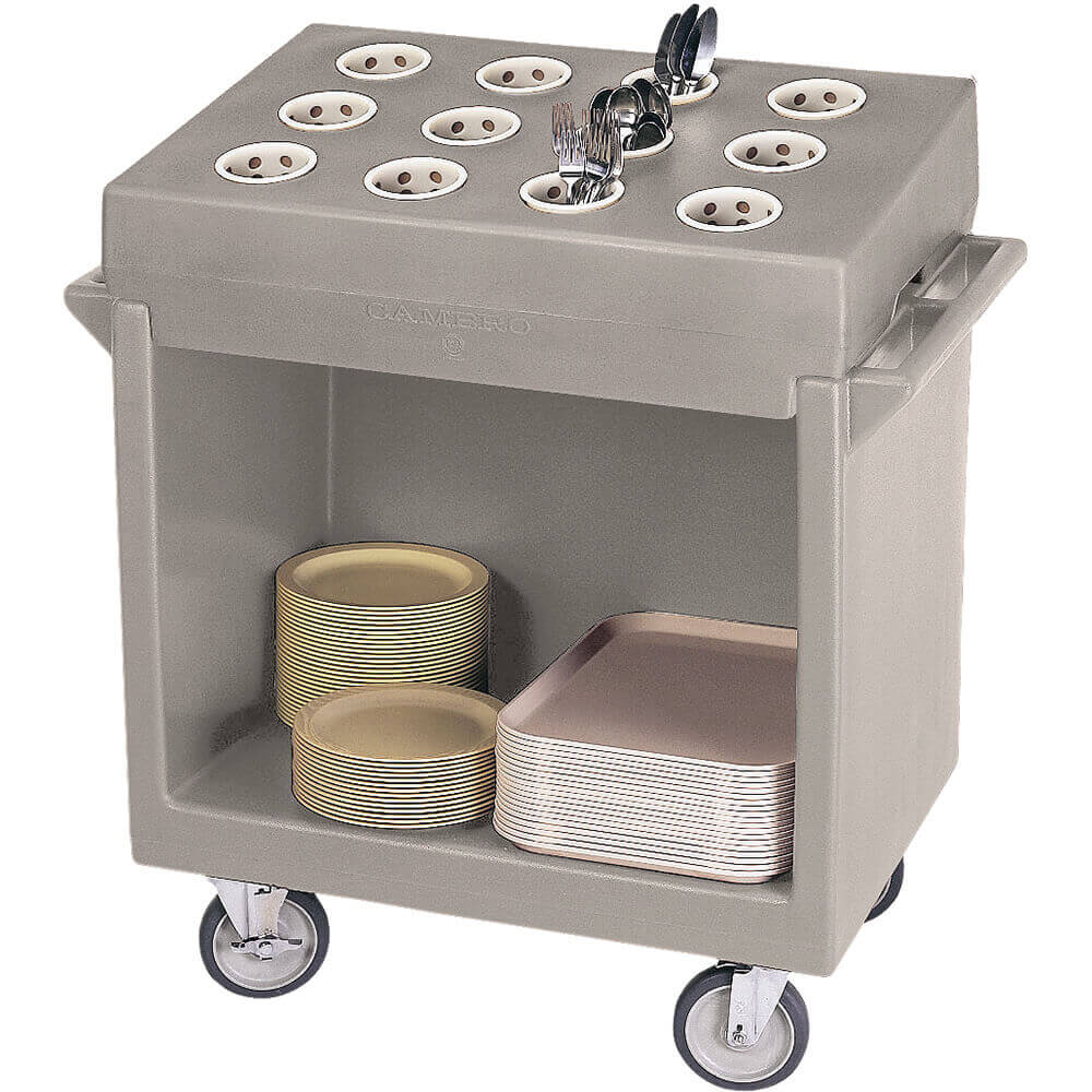 Gray, Tray and Dish Cart with Rack and Cover