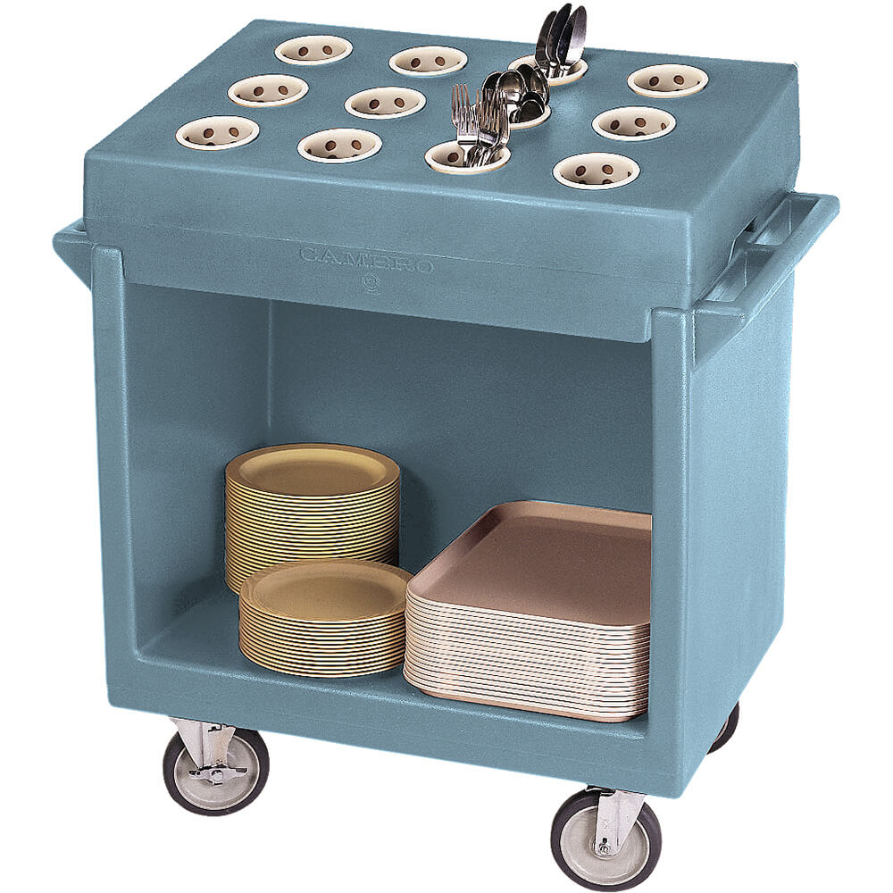 Slate Blue, Tray and Dish Cart with Rack and Cover