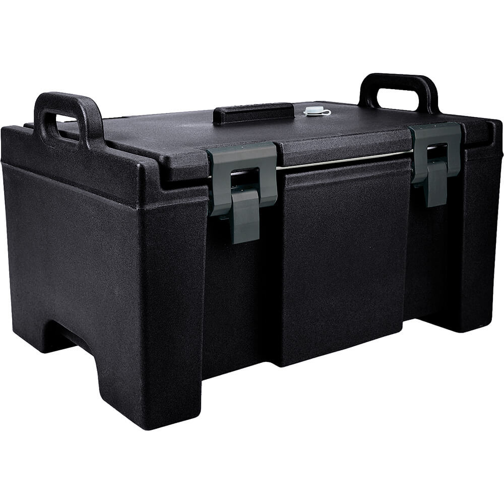 Black, Insulated Food Carrier, Bulk Food Storage, Molded Handles