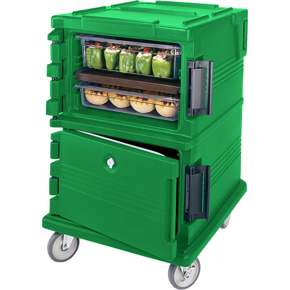 Green, Double Compartment, Insulated Food Carrier, 16-Pan Capacity