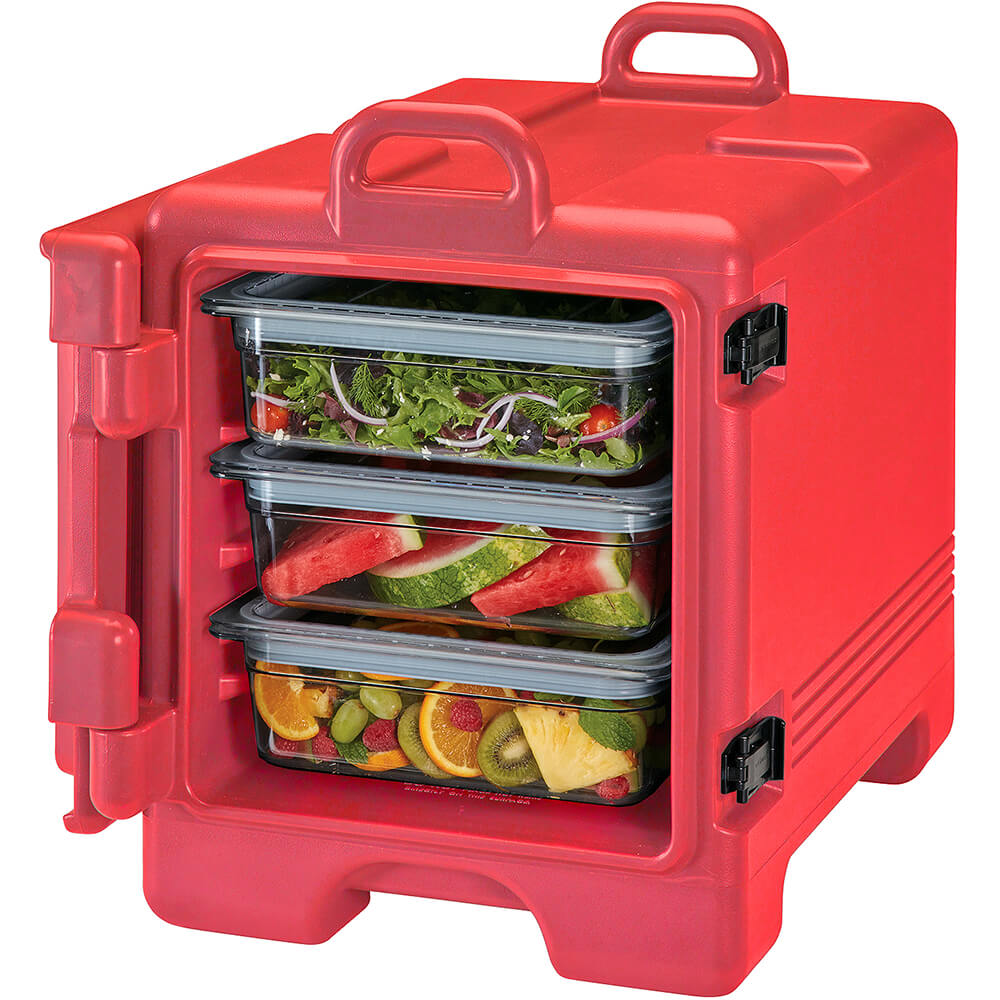Hot Red, Insulated Front Loading Food Carrier, Full Size Pans View 2