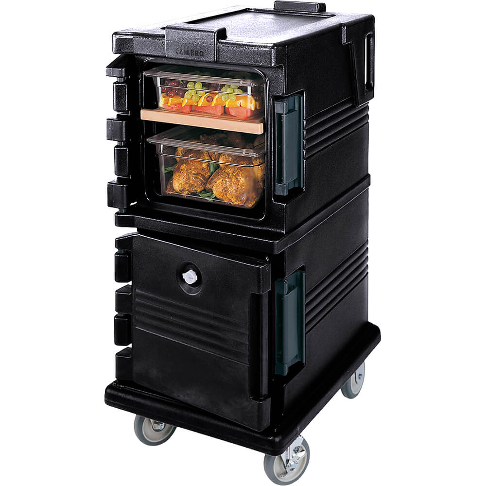 Black, Double Compartment, Insulated Food Carrier, 8-Pan Capacity