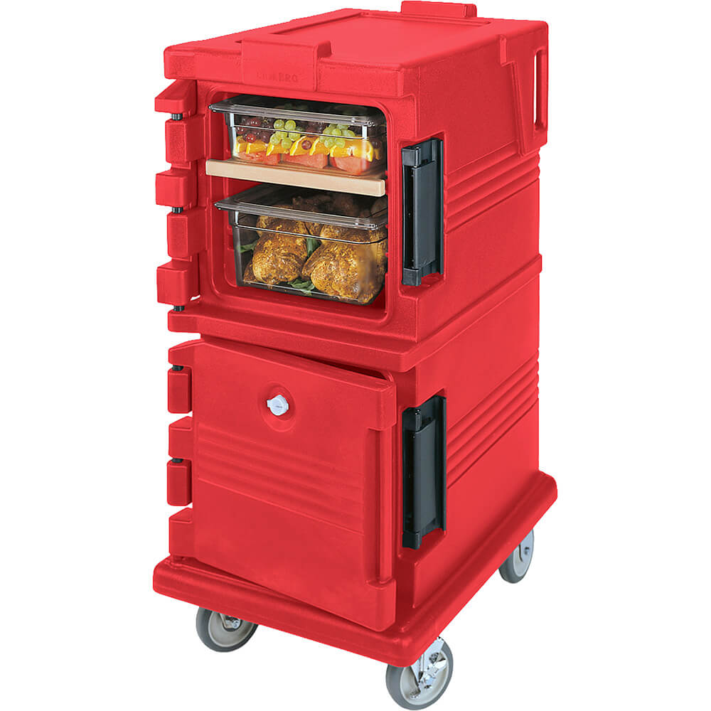 Hot Red, Double Compartment, Insulated Food Carrier, 8-Pan Capacity