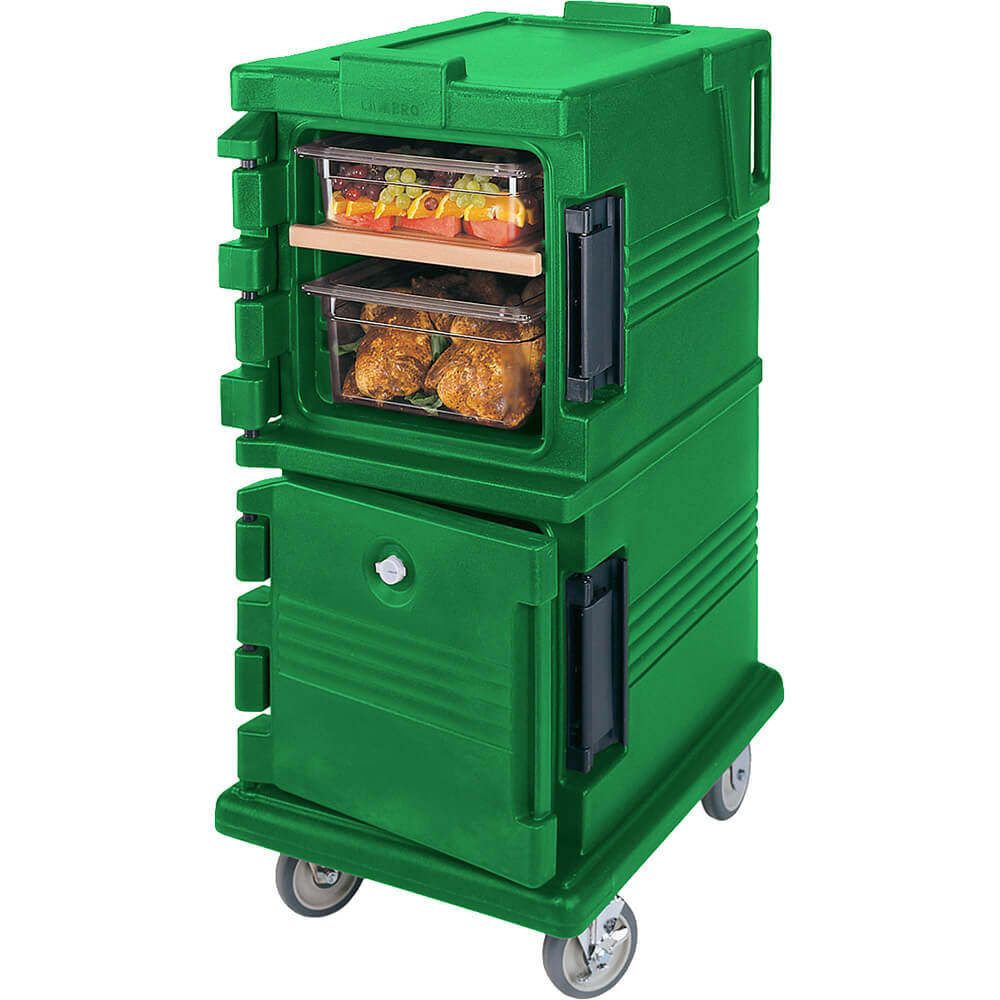 Green, Double Compartment, Insulated Food Carrier, 8-Pan Capacity