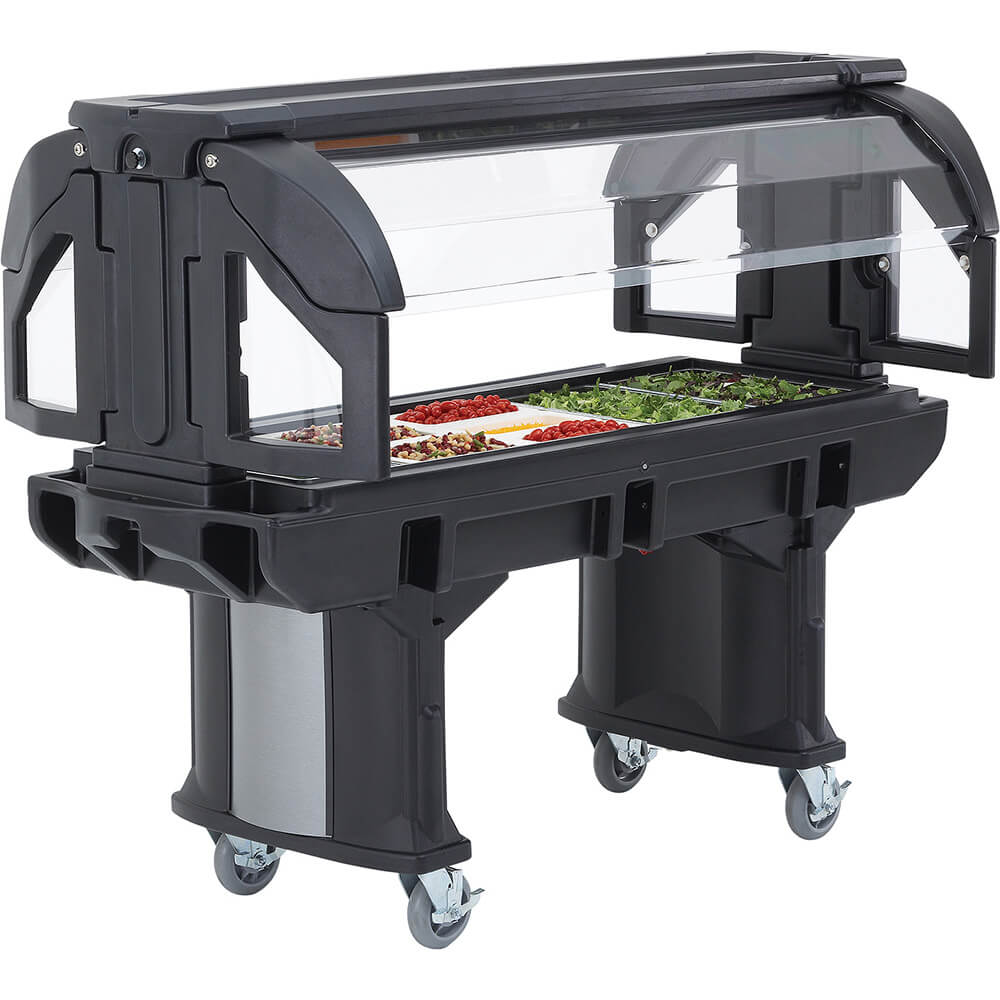 Black, 6 Ft. Children Height Food Bar with Casters