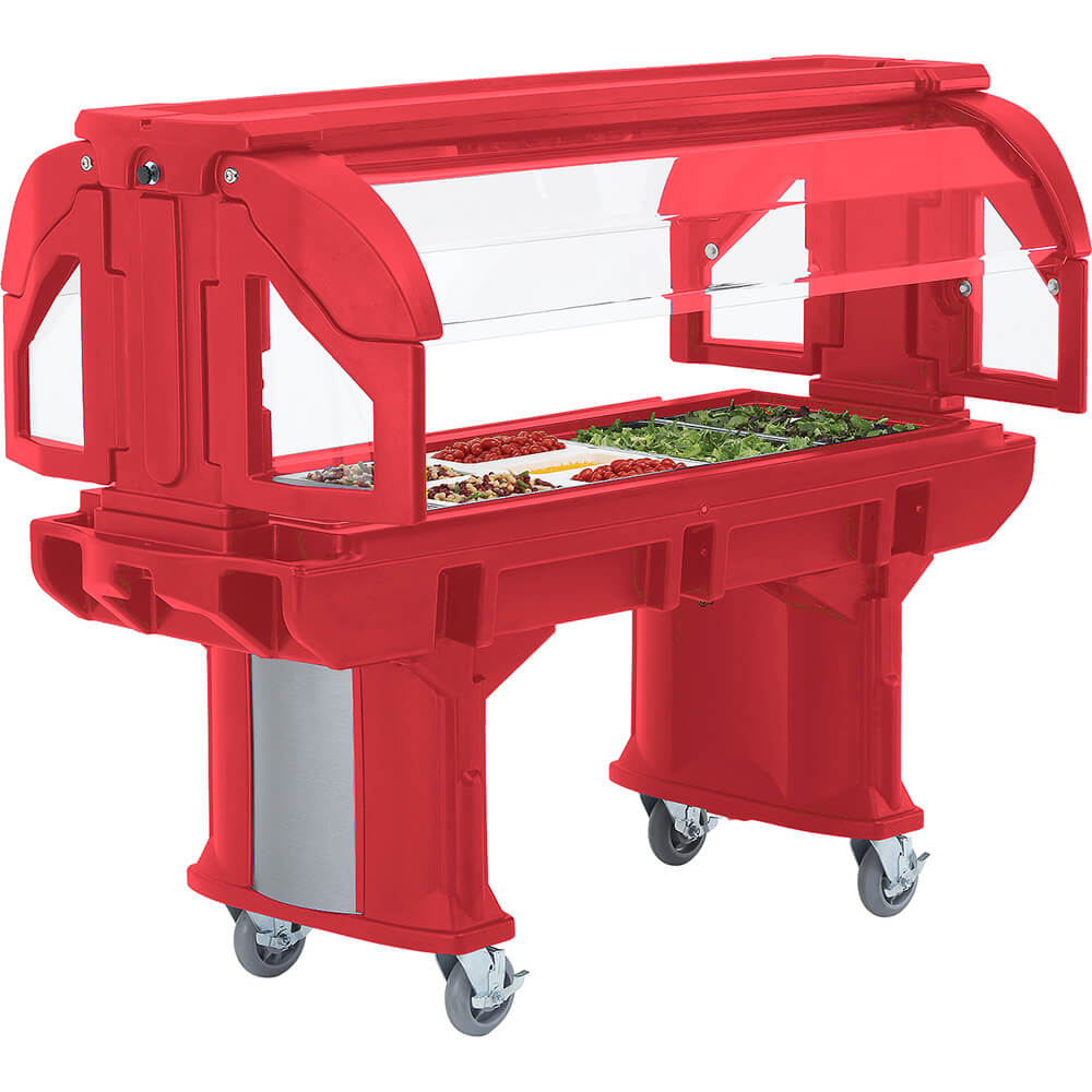 Hot Red, 5 Ft. Portable Food / Salad Bar W/ Heavy Duty Casters