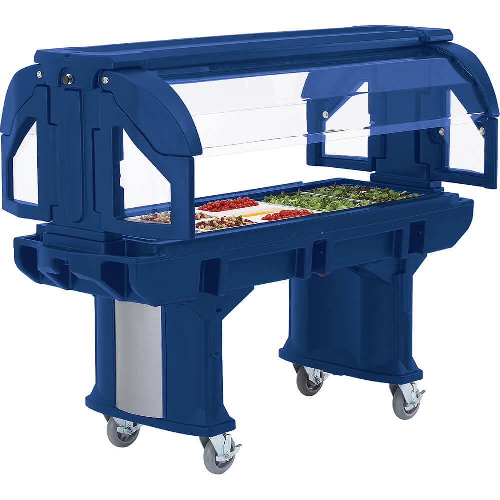Navy Blue, 6 Ft. Portable Food / Salad Bar W/ Heavy Duty Casters