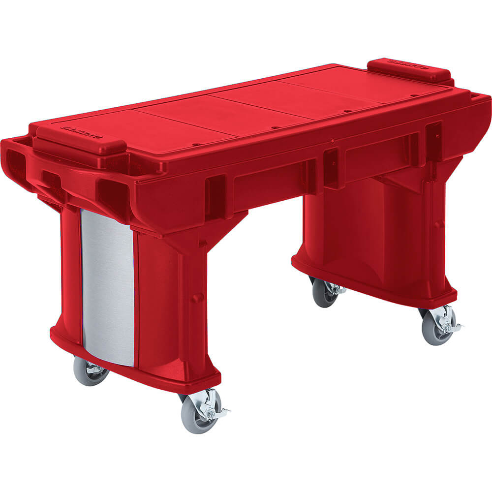 Hot Red, 6 Ft. ADA Height Work / Prep Table W/ Heavy Duty Casters