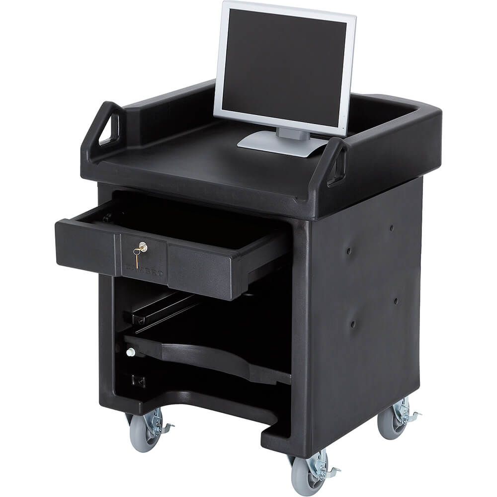 Black, Cash Register Stand / Cart, No Rails, Heavy Duty Casters