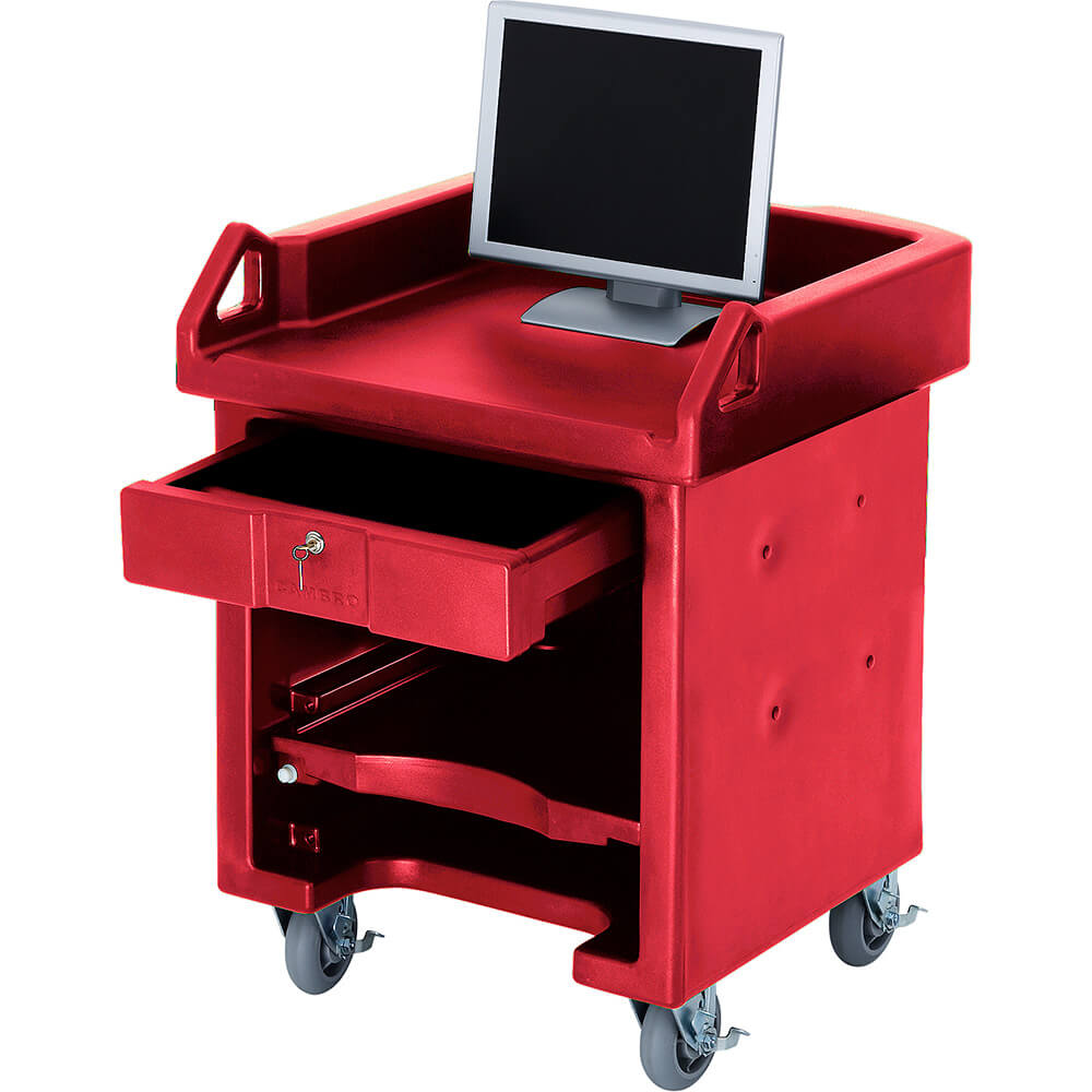 Hot Red, Cash Register Stand / Cart, No Rails, Heavy Duty Casters