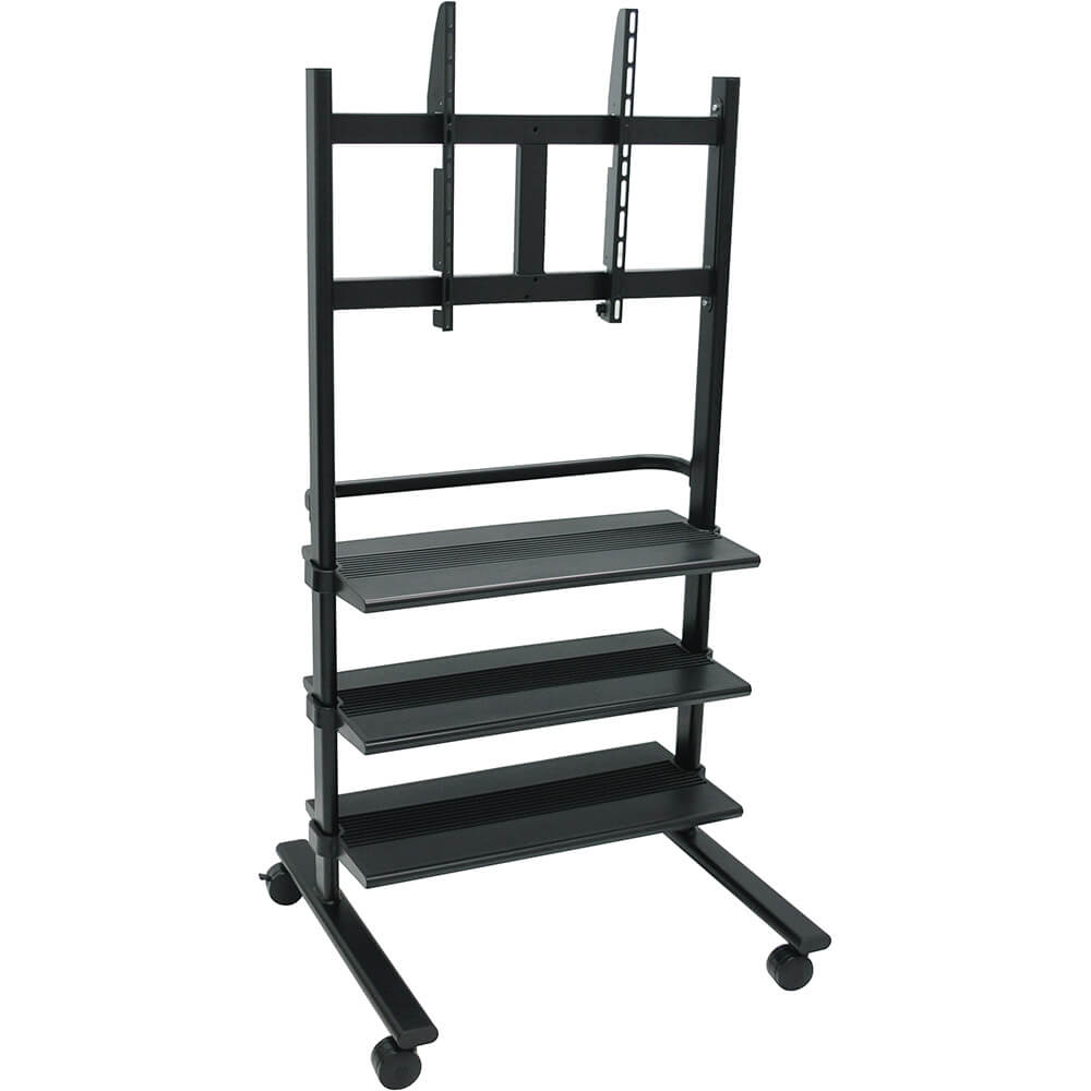 Black, Universal LCD/Flat Panel TV Cart With 3 Shelves View 3