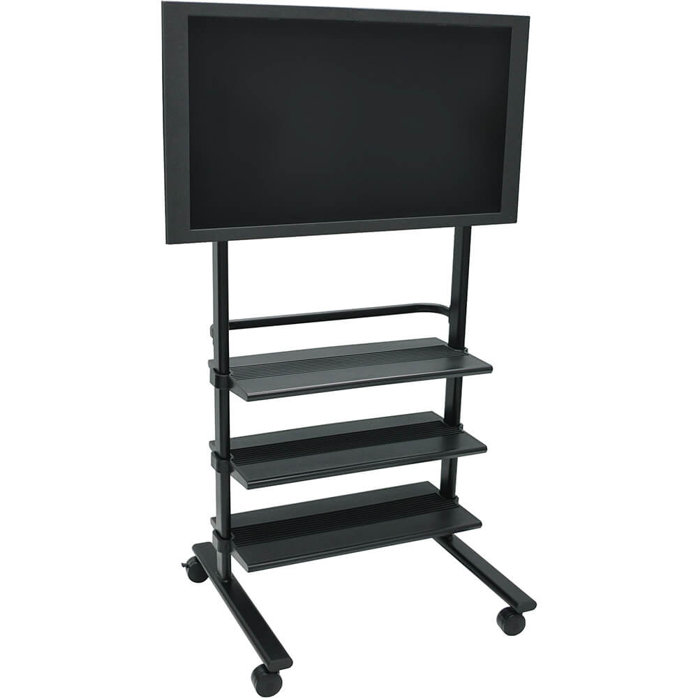 Black, Universal LCD/Flat Panel TV Cart With 3 Shelves View 2