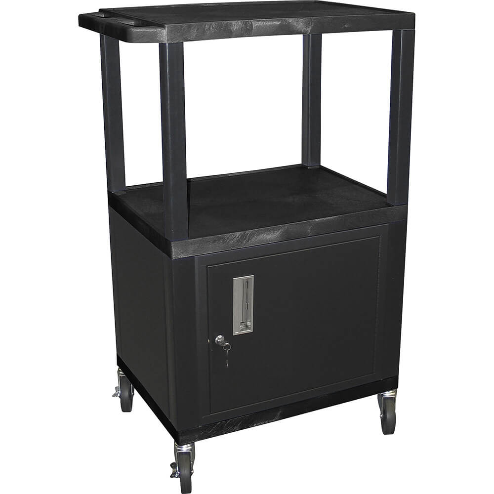 Black, Three Shelf Multi Purpose Cart With Storage