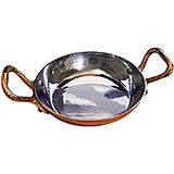 Copper, Frying Pan, 2 Handles, Tin Lined, 7.75""