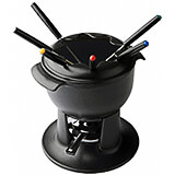 Black, Cast Iron Le Chasseur Fondue Pot Set With Forks