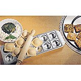 Aluminum Ravioli Mold With Wooden Rolling Pin, 12 Molds