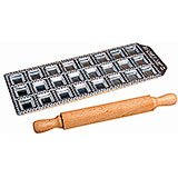 Aluminum Ravioli Mold With Wooden Rolling Pin, 24 Molds