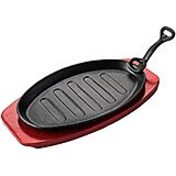 Cast Iron Oval Griddle / Grill W/ Removable Handle  and Wood Base