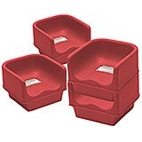 Hot Red, Single Height Booster Seat, No Strap, 4/PK