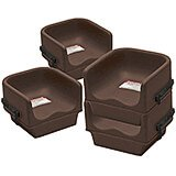 Dark Brown, Single Height Booster Seat with Strap, 4/PK