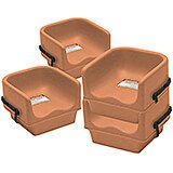 Coffee Beige, Single Height Booster Seat with Strap, 4/PK
