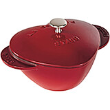 Cherry, Heart Shape Cast Iron Cocotte, 1.75 Qt