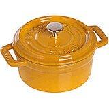 Saffron, Mini Round Cast Iron Cocotte, 0.25 Qt