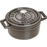 Graphite Grey, Mini Round Cast Iron Cocotte, 0.25 Qt