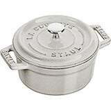 Black Matte, Mini Round Cast Iron Cocotte, 0.25 Qt
