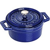 Dark Blue, Mini Round Cast Iron Cocotte, 0.25 Qt