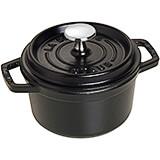 Black Matte, Round Cast Iron Cocotte, 0.75 Qt