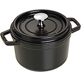 Black Matte, Round Cast Iron Cocotte, 1.5 Qt