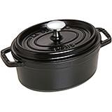 Black Matte, Oval Cast Iron Cocotte, 1 Qt