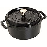 Black Matte, Round Cast Iron Cocotte, 7 Qt