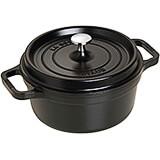 Black Matte, Round Cast Iron Cocotte, 2.75 Qt