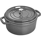 Graphite Grey, Round Cast Iron Cocotte, 4 Qt