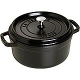 Black Matte, Round Cast Iron Cocotte, 4 Qt