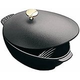 Black Matte, 2 Qt Cast Iron Mussel Pot With Knob