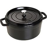 Black Matte, Round Cast Iron Cocotte, 5.5 Qt