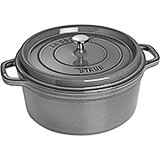 Graphite Grey, Round Cast Iron Cocotte, 7 Qt