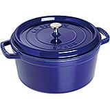 Dark Blue, Round Cast Iron Cocotte, 7 Qt