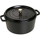 Black Matte, Round Cast Iron Cocotte, 9 Qt