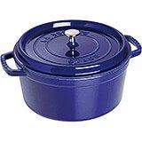 Dark Blue, Round Cast Iron Cocotte, 9 Qt