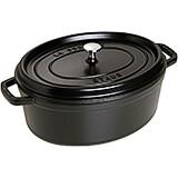Black Matte, Oval Cast Iron Cocotte, 7 Qt