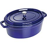 Dark Blue, Oval Cast Iron Cocotte, 7 Qt